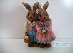 Mervyn's Easter Bunny Rabbit Couple Figurine by ALEXLITTLETHINGS