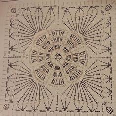 Best 12 Patterns and motifs: Crocheted motif no. Baby Afghan Crochet Patterns, Crochet Motifs, Granny Square Crochet Pattern, Crochet Blocks, Crochet Diagram, Crochet Squares, Crochet Granny, Crochet Wool, Crochet Art