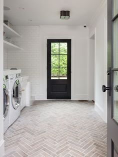 White Laundry Room with Faded Red Brick Herringbone Floor - Transitional - Laundry Room White Laundry Rooms, Mudroom Laundry Room, Farmhouse Laundry Room, Farmhouse Flooring, Laundry Room Design, Laundry Room Floors, Small Laundry, Brick Tile Floor, Herringbone Tile Floors