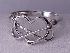 Love Forever / Eternal Love Ring handmade in solid sterlium sterling silver with a heart and infinity symbol by Rubyblue Jewelry
