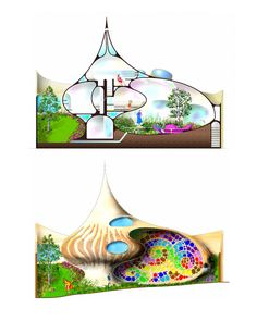 """""""Nautilus House"""" byArquitectura Orgánica. Site:Source: http://www.beautifullife.info/urban-design/living-in-a-shell-nautilus-house/#ixzz1oitwGL6k. Built in2006, this amazing house was conceived by a young couple with two children from Mexico City. After living in a conventional home, they wanted to change to one integrated with nature. The goal of the project was to make them feel like an internal inhabitant of a snail."""