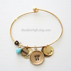 Layered Charm Bangle in Silver or Gold Plating by thesilverloft, $30.00