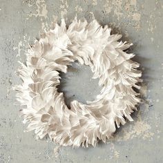 Feather Wreath, White modern accessories and decor