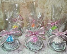 Favor ideas. Can get a full size tea cup and insert a cupcake, or mini tea cup with candle.