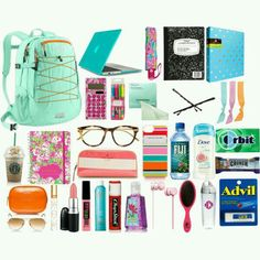 Online shopping for Girls' Back-to-School Essentials from a great selection at Clothing, Shoes & Jewelry Store. Make School, Prep School, School Hacks, School Stuff, Middle School, School Kit, School Supplies Highschool, Back To School Supplies, What's In My Backpack