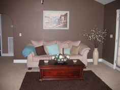 Living room turquoise, Chocolate brown and Turquoise on Pinterest