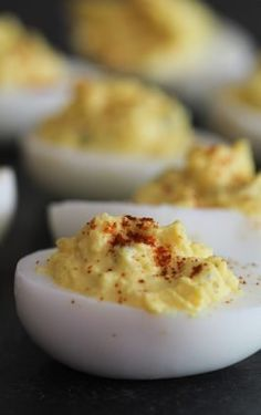 This easy deviled eggs recipe makes the most delicious and creamy deviled eggs. With a wonderfully tangy creamy egg filling and easily made, this is our go-to deviled egg recipe. Best Deviled Eggs, Deviled Eggs Recipe, Egg Recipes, Cooking Recipes, Recipies, Muffin Recipes, Salad Recipes, Best Potato Salad Recipe, Making Hard Boiled Eggs