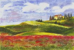 Tuscan Poppies, Tuscany, Italy by Maga Fabler.  Original gouache painting on watercolor paper 13x18 cm (~ 5x7 in.)