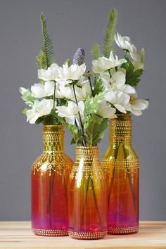 Ombre Painted Flower Bud Vases, With Colorful Ombre Glass from Ruby Red to…