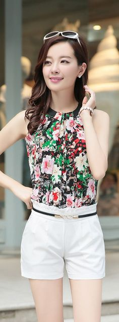 Summer Flower Printed Romper with Belt YRB0051