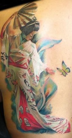 Geisha is a beautiful lady with a Japanese origin, who is slender in build and wears a white mask with a black wig. Wrapped in a colorful kimono, Geisha is known to be a symbol of beauty and mystery. Geisha tattoos are very vibrant and colorful, that is why they look very attractive when inked.