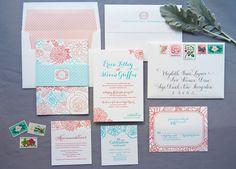 Erica & Steve's floral wedding invitations by Gus & Ruby Letterpress | gusandruby.com | Envelope calligraphy by Kelle McCarter