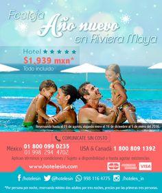 Festeja Año Nuevo en Riviera Maya desde $1,939 mxn *pppn, www.hotelesin.com Riviera Maya, Movies, Movie Posters, Beach Hotels, Cruises, Circuits, Europe, Films, Film Poster