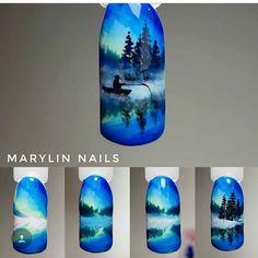 Trendy Nails Winter Tips Art Tutorials Ideas New Nail Designs, Simple Nail Designs, Christmas Nail Designs, Christmas Nail Art, Winter Nails, Summer Nails, Nail Drawing, Seasonal Nails, New Nail Art