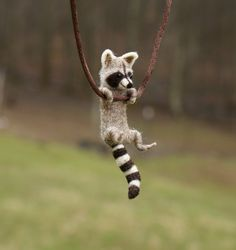 Tiny Raccoon Necklace needle felted by motleymutton $40.00