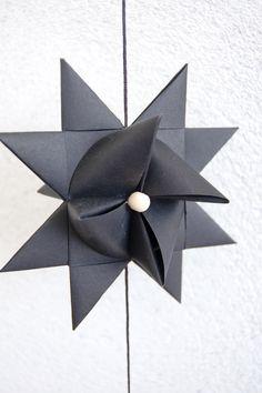 Black folded paper stars - Starfolds.dk