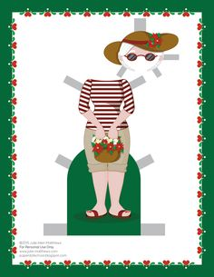 Paper dolls by Julie Allen Matthews.  A beach outfit for the Mrs Claus paper doll.