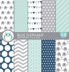 Coordinating Blue Elephant digital scrapbook papers for your Little Peanut {Elephant} themed baby shower, by WiseOwlPrints.