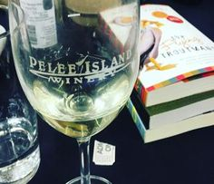 Pelee Island Winery glass with books