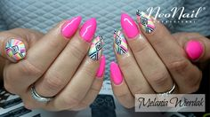 Produkty NeoNail użyte do stylizacji to: Lakier hybrydowy Rock Girl, wzorki mix kolorów i zdobienie farbką oraz Base i Top Hard - NeoNail Nails, Beauty, Finger Nails, Beleza, Ongles, Nail, Cosmetology, Manicures