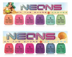CHINA GLAZE NAIL POLISH - ON THE SHORE CREMES AND JELLIES - NEONS COLLECTION  2013