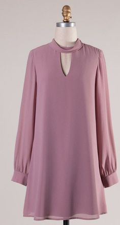 Best 10 The perfect fall dress! Fun mauve color that can be paired with knee high boots or dressed up with heels. It features beautiful lone sleeves with buttons, a mock neck, and a keyhole back with two buttons. Fully lined! Fall Dresses, Casual Dresses, Short Dresses, Dresses Dresses, Dance Dresses, Mauve Dress, Dress Up, Hijab Fashion, Fashion Dresses