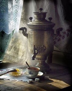 A samovar is an urn used in the brewing and serving of tea in Russia.
