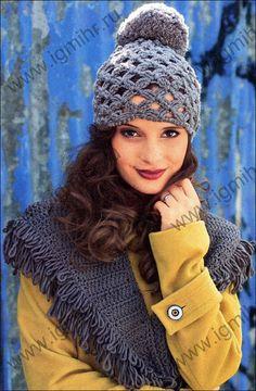 bcadc56092c9c Conjunto de moda por un tiempo más fresco. Bufanda y un sombrero con un  pompón. gancho