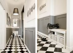 black and white checkered floors Black And White Bathroom Floor, Black And White Flooring, Black And White Interior, Black And White Tiles, Foyer Flooring, Kitchen Flooring, Dark Wood Furniture, Checkered Floors, Hallway Designs