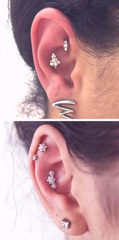 Unique Pretty Multiple Ear Piercing Ideas - Flower Cartilage Earring Studs - Rook Hoop Ring - MyBodiArt.com