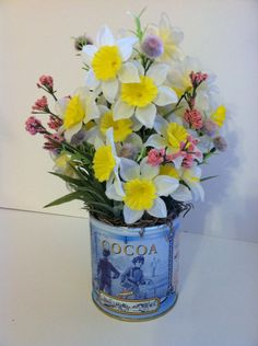 Spring floral arrangement in tin can on Etsy, $25.00