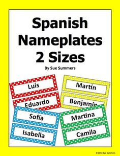 Spanish Nameplates in 2 Sizes with Colorful Polka Dot Backgrounds by Sue Summers…