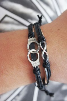 FREE SHIPPING - Freedom Handcuffs and Infinity Bracelet Distressed Leather Birthday Holi... $12