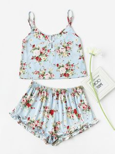 To find out about the Pearl Button Front Cami & Ruffle Shorts Pajama Set at SHEIN, part of our latest Night Sets ready to shop online today! Cute Pjs, Cute Pajamas, Cute Pajama Sets, Ruffle Shorts, Pajama Shorts, Ropa Brandy Melville, Summer Pajamas, Pj Sets, Cami Tops