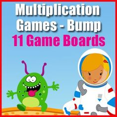 Multiplication Games - Bump - Two Times Table to Twelve Times Table - 11 Game Boards.. These fun and printable multiplication games are for elementary school students. The games are designed to reinforce the multiplication tables facts.Game Overview:Players throw dice and multiply the number shown by the game board number. Multiplication Facts Practice, Multiplication Tables, Multiplication Strategies, Literacy Games, Math Games, Maths, Game Boards, Board Games, 12 Times Table