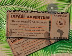 Safari Ticket Birthday Invitation * Boarding Pass * Digital Party Invitation * You Print Safari Party, Safari Theme Birthday, Jungle Theme Parties, Safari Birthday Party, Jungle Party, 1st Birthday Parties, Baby Birthday, Safari Invitations, Passport Invitations