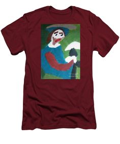 Patrick Francis Cardinal Red Designer Slim Fit T-Shirt featuring the painting Man With A Feathered Hat 2014 by Patrick Francis