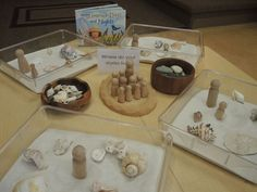I like the clear containers, book and combination of peg dolls sand and shells