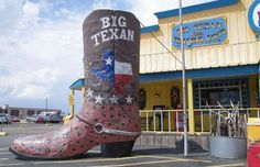"""2. Big Texan Steak Ranch (Amarillo, Texas)  If you've ever wanted to eat a 72-ounce steak dinner for free, here's where to do it — but only if you can do so in one hour. The Big Texan Steak Ranch is also home to a craft brewery, which is all the more cool because your beer is served in plastic cowboy boots. The menu is host to a lot of deep-fried goodness, except for maybe the """"mountain oysters""""; as the menu says, """"If you think it's seafood, go with the shrimp."""""""
