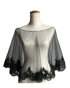 Wedding Cape Evening Wrap Shoulder Covers Lace Edge in Elegant BlackRe-Pinned by Colleen 25g