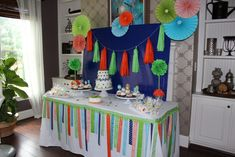 Monster First Birthday Party Dessert Table - bright, modern and fun!