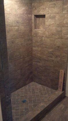 Tiled shower stall Completed tile shower stall Bathroom