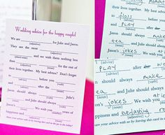 25 Unique Guest Book Ideas | Mad libs guest book! Good for wedding/baby shower