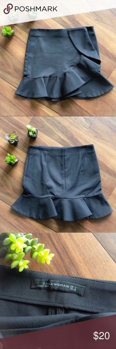 """Zara Black Ruffled Mini Skirt Purchased but never got around to wearing it. 7"""" hip zippered closure, 30"""" waist, 15.5"""" long. Made of 52% cotton, 45% polyester, and 3% elasthanne. Has a heavier fabric feel to it. Machine wash, hang dry, and can be ironed. The store hanger left some imprints (pictured above) that I haven't tried to remove. The threads by the zipper (pictured above) were there when I purchased it. Only looking to sell so no trades. My listing price is firm. Zara Skirts Mini"""