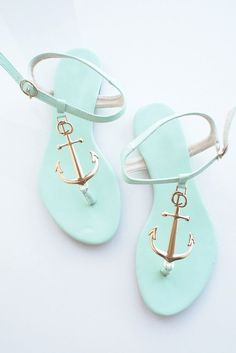 Minty Green Nautical Golden Anchor Sandals – Goodnight Macaroon I want these shoes so bad! Anchor Sandals, Anchor Shoes, Cute Shoes, Me Too Shoes, Shoe Boots, Shoes Sandals, Mint Sandals, Flip Flops, Flats