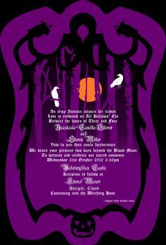 Halloween Wedding Invitation Created and Designed by Us! Belladonna Flower Jack-o'Lantern Crows Barren Tree Moon
