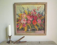 Floral Litho Print  Framed Lithograph Still Life by by gazaboo