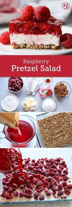 Easy enough for weeknights and pretty enough for the potluck, this raspberry twist on our classic Strawberry-Pretzel Salad is irresistible. This triple layer delight gets its saltiness from its crushed pretzel crust, while a cream cheese-Cool Whip-raspberry layer and Jell-O topping deliver its fresh flavor. Timesaving tip: If you're using frozen raspberries, you don't need to thaw them before serving!