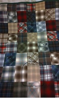 Quilt made by my mother out of my late father's Pendleton shirts. The circled fabric indicates the first Pendleton shirt my dad bought in Photo by Sharon Knoph Pendleton Shirts, Pendleton Woolen Mills, Shirt Quilt, Happy Fathers Day, Quilt Making, Quilts, Fabric, Sewing, Upcycle