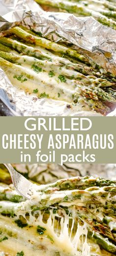 Cheesy Grilled Asparagus in Foil Packs - Cheesy, deliciously tender asparagus lo. - Cheesy Grilled Asparagus in Foil Packs – Cheesy, deliciously tender asparagus loaded with cheese - Grilled Asparagus Recipes, Grilled Vegetables, Veggies, Grilled Vegetable Recipes, Grilled Food, Vegetarian Recipes, Cooking Recipes, Healthy Recipes, Veggie Recipes For Camping